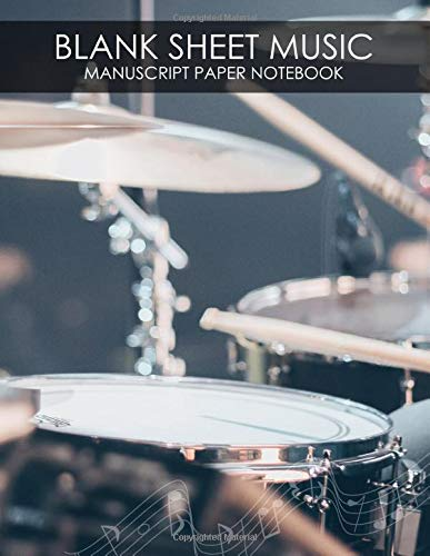 Blank Sheet Music - Manuscript Paper Notebook (100 pages, 13 staves per page): Drums Songwriting Tabs Book