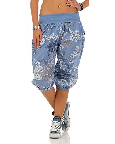 Zarmexx Damen Caprihose Haremshose 3/4 Hose All Over Print Sommerhose Knickebocker Pumphose (Einheitsgröße: Gr. 36-40, Jeansblau)