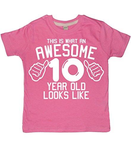 Esta una fantástica lo que hay que tener 10 años LOOKS LIKE chicle OLD de color rosa ropa de descanso para niñas 10th con texto en inglés y T-camiseta de manga corta en tallas de la 12-13 años con asiento reclinable A de color blanco diseño de purpurina