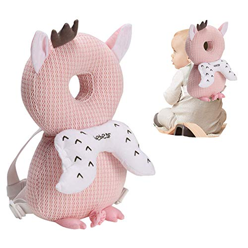 Almohadas para reposacabezas de bebé anticaídas, suaves y transpirables para bebés, mochila de protección para la cabeza, apoyo para la espalda, protección contra las caídas rosa Cerdo rosa
