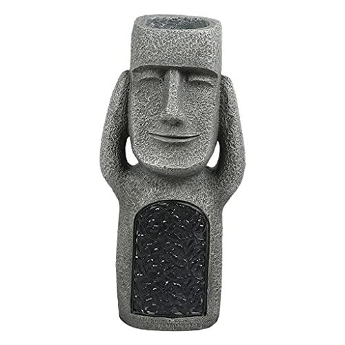 Fenteer Drôle Île de Pâques Statue Figurine Moai Monolithe Jardin Décor Sculpture Ornement Décor Extérieur, Résine Matériel - Couverture Oreilles