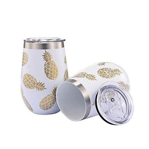 WDG Pineapple Wine Glasses 2 Pack Steel Stemless Wine Glass Tumbler with lid 12 oz Double Wall Vacuum Insulated Wine Glasses without Handle for Champagne, Cocktail, Beer, Office