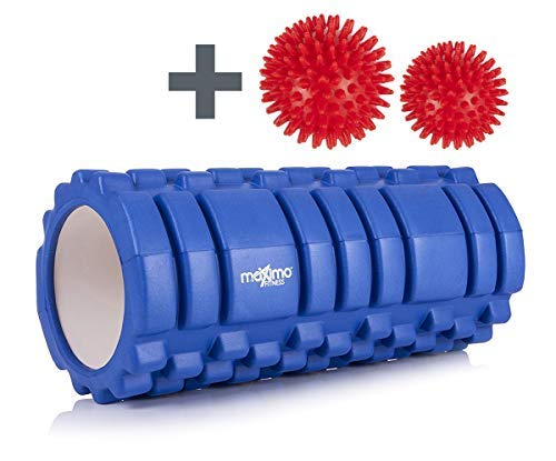 Maximo Fitness FOAM ROLLER - Trigger Point - Stronger and Harder for DEEPER Massage - QUICK START guide - Perfect Muscle Roller for Home, Gym, Pilates, Yoga - 14cm x 33cm (Blue)