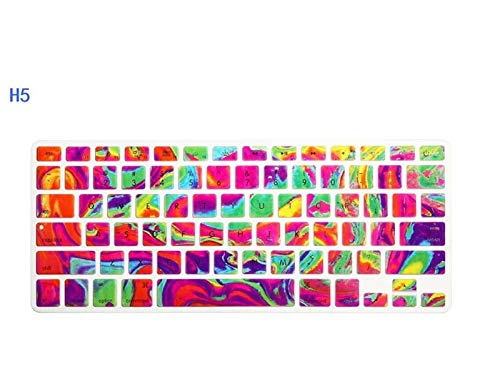 Soft Skin Protector, US 3D Decal Flower Rainbow Silicone Keyboard Cover Keypad Skin Protector For Old Apple Macbook Pro 13 15 Air Retina Waterproof Dust-Proof