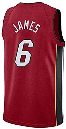 NBA - Camiseta de baloncesto para hombre - NBA Miami Heat # 6 LeBron James Baloncesto Fan Uniforme Cool Transpirable Tela Chaleco, rojo, M