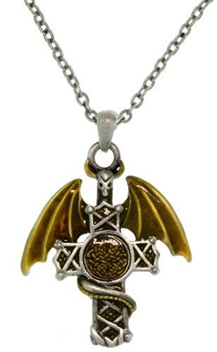 Jewelry Trends Warrior Dragon Celtic Cross Pewter Pendant Necklace 23'