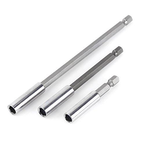 3pcs portapuntas de taladro eléctrico 1/4 pulgadas, 60/100/150 mm, destornillador con punta hexagonal, extensiones de puntas, magnéticos