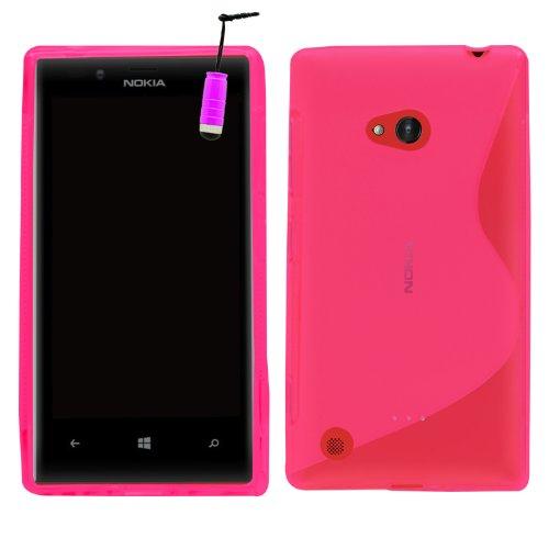 Samrick 6628 S Welle Hydro Gelieren Schutzhülle mit Displayschutzfolie, Microfasertuch und Mini Aluminium Stylus Pen für Nokia Lumia 720/Nokia 720 RM rosa