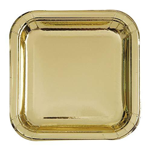 Unique Party 32335 - 23cm Foil Gold Square Paper Party Plates, Pack of 8