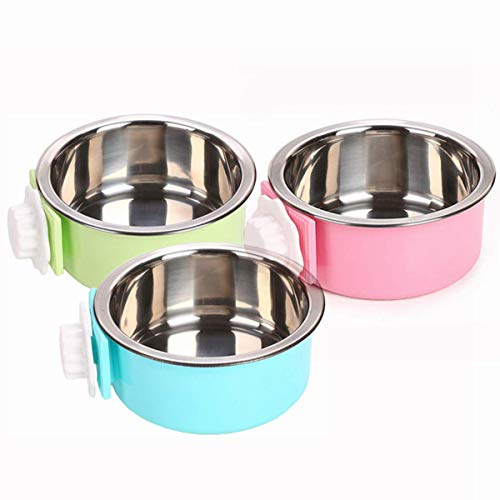 YEIRVE Crate Dog Bowl, Removable Stainless Steel Food Hanging Bowl, Pet Puppy Food Water Bowl for Cat, Puppy, Birds and Other Small Pets (3 Pack) Categories