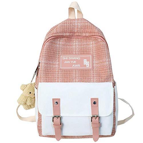 Estudiante mujer linda mochila mujer moda lino mochila escolar harajuku niña kawaii mochilas lona a cuadros damas bolsos libro-rosado_Los 27 * 13 * 40cm
