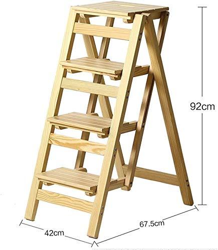 WYKDL Rango de Trabajo escalera con plataforma plegable del hogar taburete de paso ancho pedal robusto Escalera del Mango antideslizante sólida escalera de madera de doble uso Silla plegable de cuatro