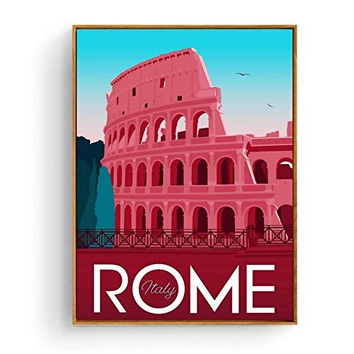 ASLKUYT Cartel de la ciudad de viaje de Marrakech, Marruecos, Roma, Santorini, pintura, póster, impresiones, lienzo, cuadro de pared para decoración de habitación del hogar, 20x28 en sin marco