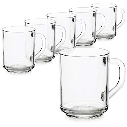 COM-FOUR® 6x Vaso con asa para té y café - Ideal para bebidas calientes, cacao, latte macchiato y cappuccino (06 piezas - 240ml)