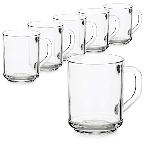 COM-FOUR® 6x Vaso de té - Vaso con asa para té y café - Ideal para bebidas calientes, cacao, latte macchiato y cappuccino (06 piezas - 240ml) 🔥