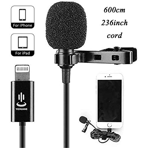 Lavalier Microphone for iPhone 11 X Xr Xs max 8 6 iPad Mini iPod, 6 Meter 236 Inch Cord Audio Lapel Easy Clip on for YouTube Video Conference Podcast Voice Dictation Vlog Facebook Live