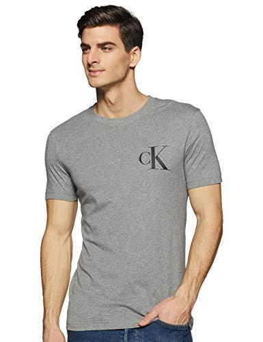 Calvin Klein Instit Back Pop Logo Slim Tee T-Shirt, Grigio (Mid Grey Heather P2f), Medium Uomo