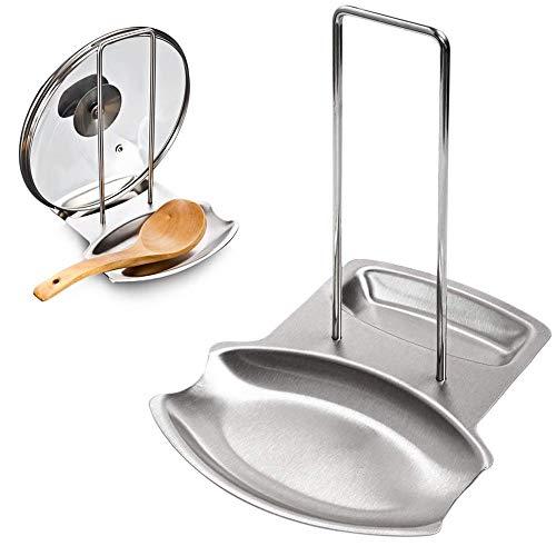 Mopoin IWILCS - Poggiamestolo per padelle, coperchio per pentole, supporto per coperchio, da cucina, con poggia cucchiaio in acciaio inox, 20,8 x 18,8 x 12,argento