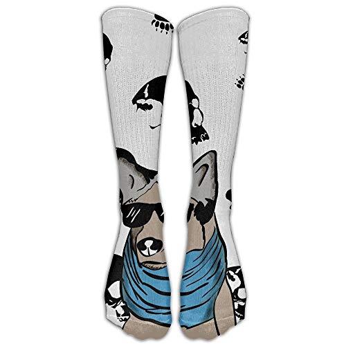 Hunter qiang - Calcetines de lana para adultos con gafas de sol y bufanda azul estampados de algodón, largo: 50 cm