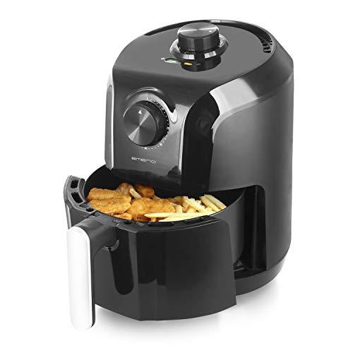 Emerio Heißluftfritteuse, Airfryer, Smart Fryer, Frittieren ohne Öl, ca. 3 Liter Volumen, geeignet für ca. 2 Personen, einfach & schnell zu reinigen, Timer & Thermostat, 1200 Watt, AF-122706, schwarz