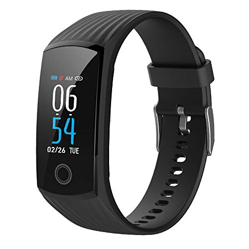 2019 Color Screen H6 Smartwatch for Men & Women Waterproof Sports Watch Smart Wristband with Heart Rate Blood Pressure Monitor Fitness Activity Tracker for Running Compatible for Android & iOS (Black)