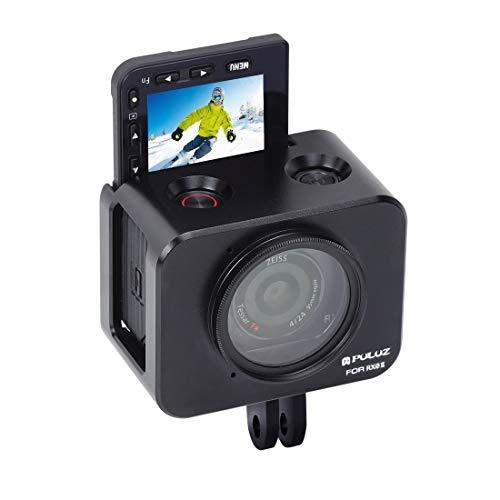 Action-camera-kooi van aluminiumlegering + 37 mm UV-filter + zonneklep met schroeven en schroevendraaier voor Sony RX0 / RX0 II (zwart),  Blanco Y Gris
