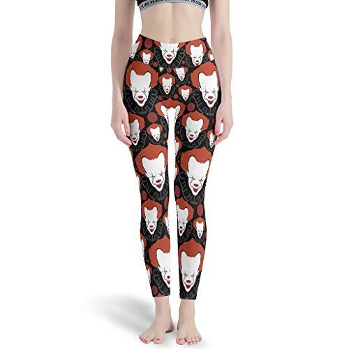 Ballbollbll Pantalones de yoga para mujer de payaso de Halloween, cintura alta y control de barriga, sin costuras, para la escuela, para correr, para uso diario, ocio, blanco s