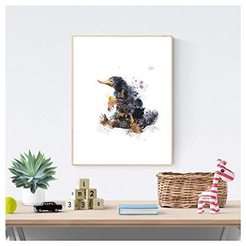 nr Fantastic Beasts Leinwand Kunstdrucke und Poster Niffler Aquarell Malerei Wandbild Kinderzimmer-50x70cmx1 Rahmenlos