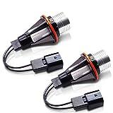 Lncboc 10W LED Angel Eyes No Error CanBus Faros delanteros Halo Ring Bulker Bulbs 420LM 6000K Blanco para E39 E60 E61 E63 E64 E65 E66 E53 E5 1/5/6/7 Serie X3 X5, 2 piezas