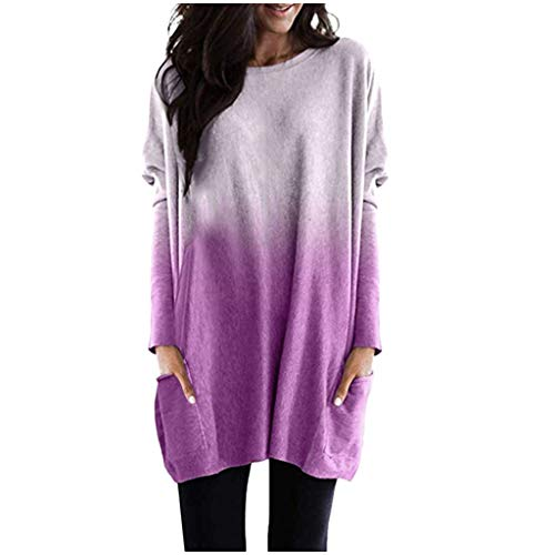 Xinantime Womens Loose Gradient T-Shirts Sweatershirt Casual Colorblock Long Sleeve Round Neck Blouse Top Tunic(Gray,L)