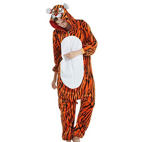 YFCH Pijama Animal Entero de Franela para Hombre/Mujer Pijama de Disfraz Cosplay Halloween, Tigre, Small/Altura:145-155cm