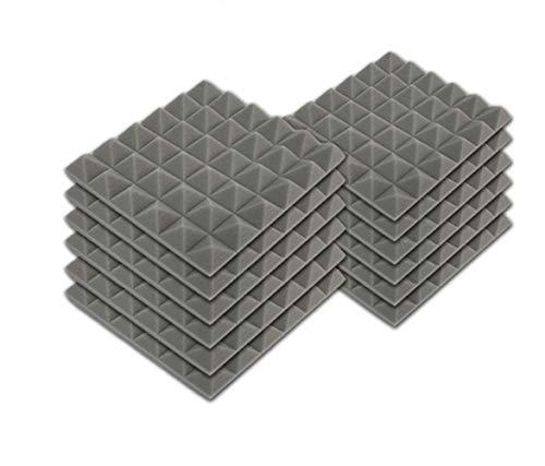 SK Studio 12 Stück Akustikschaumstoff Noppenschaumstoff Akustik Schaumstoff Schall Dämmung Dämmung für Tonstudio Schallabsorbierende Dämpfungswand Schaumpyramide 30x30x5cm, Grau