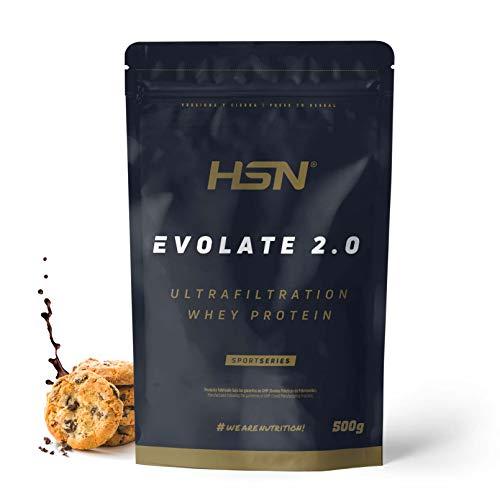 Aislado de Proteína de Suero de HSN Evolate 2.0 | Whey Protein Isolate | Proteína CFM + Enzimas Digestivas (Digezyme) + Ganar Masa Muscular | Vegetariana, Sin Gluten, Sin Soja, Choco Galletas, 500g