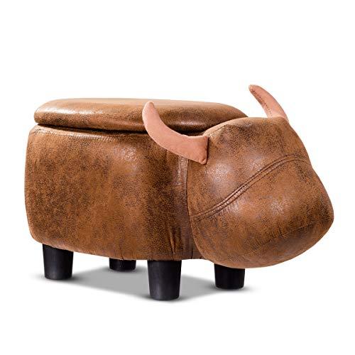 COSTWAY Tierhocker für Kinder, Kinderhocker gepolstert, Sitzhocker mit Stauraum, Polsterhocker mit Deckel, Sitzbank Fußbank Aufbewahrungsbox mit Füßen Tier-Design (Wasserbüffel-Design)