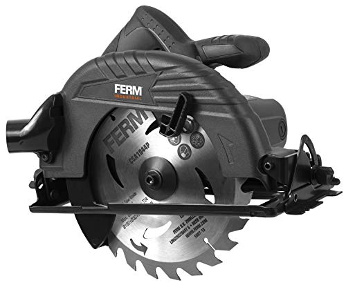 FERM Profi Kreissäge 1050W - 190mm - Spindelarretierung - verstellbare Fußplatte (45 und 90 Grad) - Inkl. TCT Sägeblatt 24T und Parallelführung