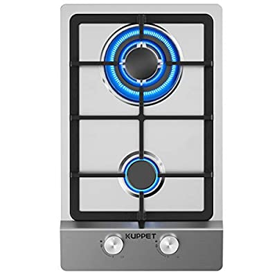 12 Inch Gas Cooktop, KUPPET QM2011 Gas Stove Cooktop with 2 Italy Sabaf Sealed Burners, Stainless Steel Cooktop Gas Hob, NG/LPG Convertible ETL Certified