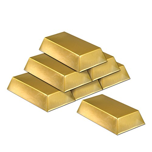 Lot de 6 décorations de barre dorées