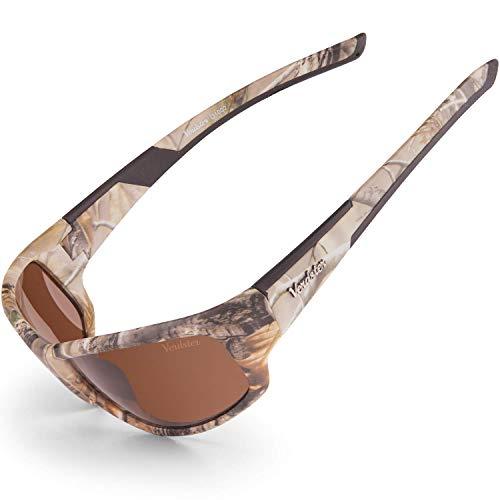 Verdster Camo Polarisierte Sonnenbrille - UV-Schutz - Braunes Camouflage Design mit bernsteinfarbenen Gläsern - Ideal für Angler - Etui und Reinigungstuch inklusive