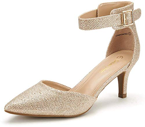 DREAM PAIRS Damen Pumps mit Absatz Knöchelriemchen Sandalen Lowpointed Gold Funkeln 40 EU / 9 US