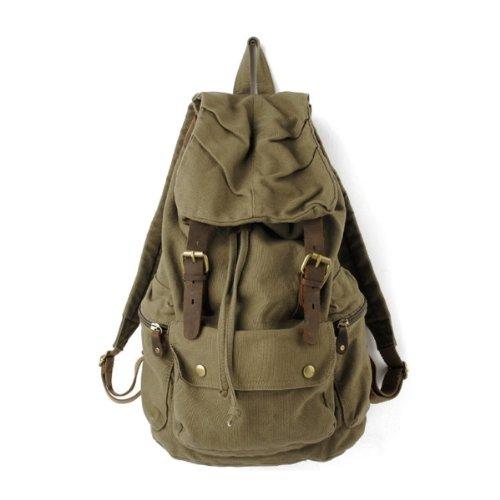 Dehang Tasche Daybag Canvas Leder Rucksack Rucksack Satchel Bag Bookbag Wandern - Armee-Grün