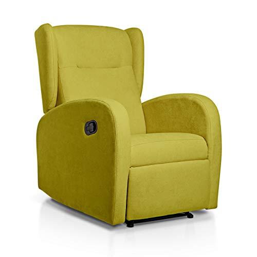 SUENOSZZZ-ESPECIALISTAS DEL DESCANSO Sillón Relax orejero Home reclinable con Pared Cero tapizado en Tela Antimanchas Tela Pistacho