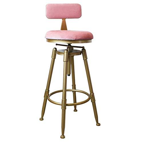 FXBFAG Bar Stool Footstool High Chair Adjustable Height as Kitchen Stool | Bar | Breakfast Stool | Velvet Seat Gold Metal Legs | Maximum Load 150 Kg (Seat Adjustable Height 70~90cm)