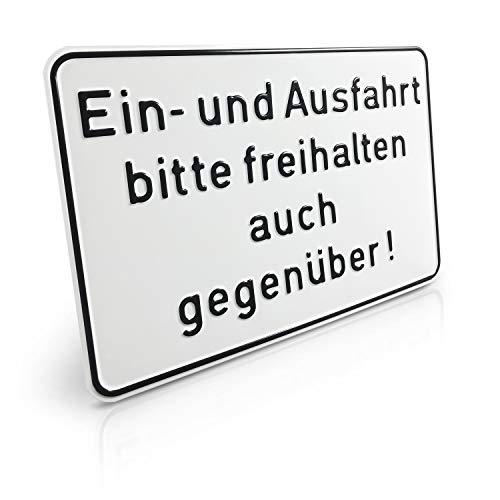 Betriebsausstattung24® Hinweisschild geprägt aus Aluminium mit Einbrennlackierung | EIN- und Ausfahrt Bitte freihalten auch gegenüber! 30,0 x 20,0 cm