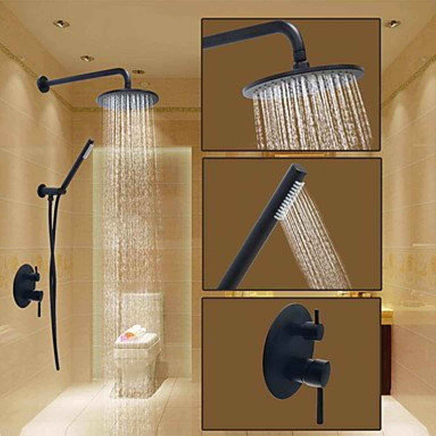 Round Shower System Wall Mount Ceramic Valve Shower Faucet