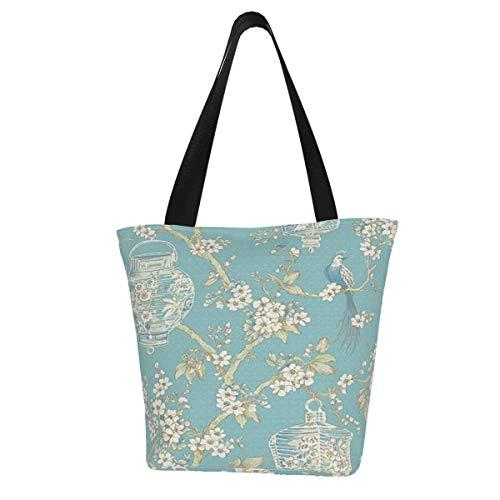 Einkaufstaschen, Serenity, türkis, Laternen, Tapete, Segeltuch, Umhängetasche, Einkaufstasche, wiederverwendbar, faltbar, Reisetasche, groß und langlebig, robuste Einkaufstaschen