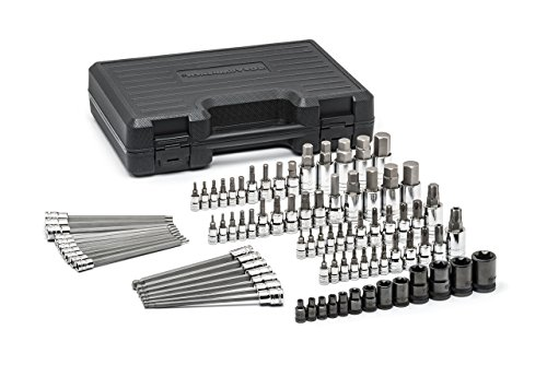 GEARWRENCH 84 Piece 1/4 Inch, 3/8 Inch & 1/2 Inch Drive Bit Socket Set, Hex/Ball End Hex/Tamper Proof Torx/E-Torx/Torx, SAE/Metric - 80742