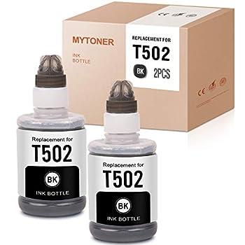 MYTONER Compatible Ink Bottle Replacement for Epson 502 T502 Refill for ET-4750 ET-2760 ET-4760 ET-3710 ET-2750 ET-3760 ET-2700 ET-3700 ET-3750 ST-4000 ST-2000 ST-3000 ET-15000  Black 2 Pack