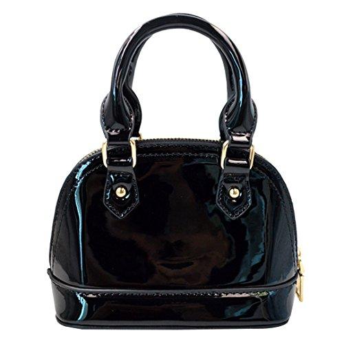 AiSi Damen mini Lack Leder Handtasche/Damenhandtasche/Schultertasche/Crossbody Bag/Umhängetaschen/Henkeltasche mit Reißverschluss Umhängekette Schwarz