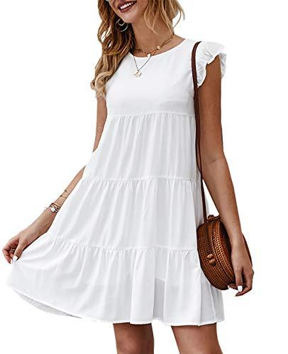 KIRUNDO 2021 Women's Summer Mini Dress Sleeveless Ruffle Sleeve...