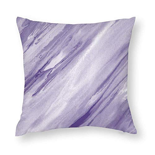 EU Lilac White Abstract Throw Pillow Covers Case Cushion Pillowcase with Hidden Zipper Closure for Home Decor 18 x 18 Inches